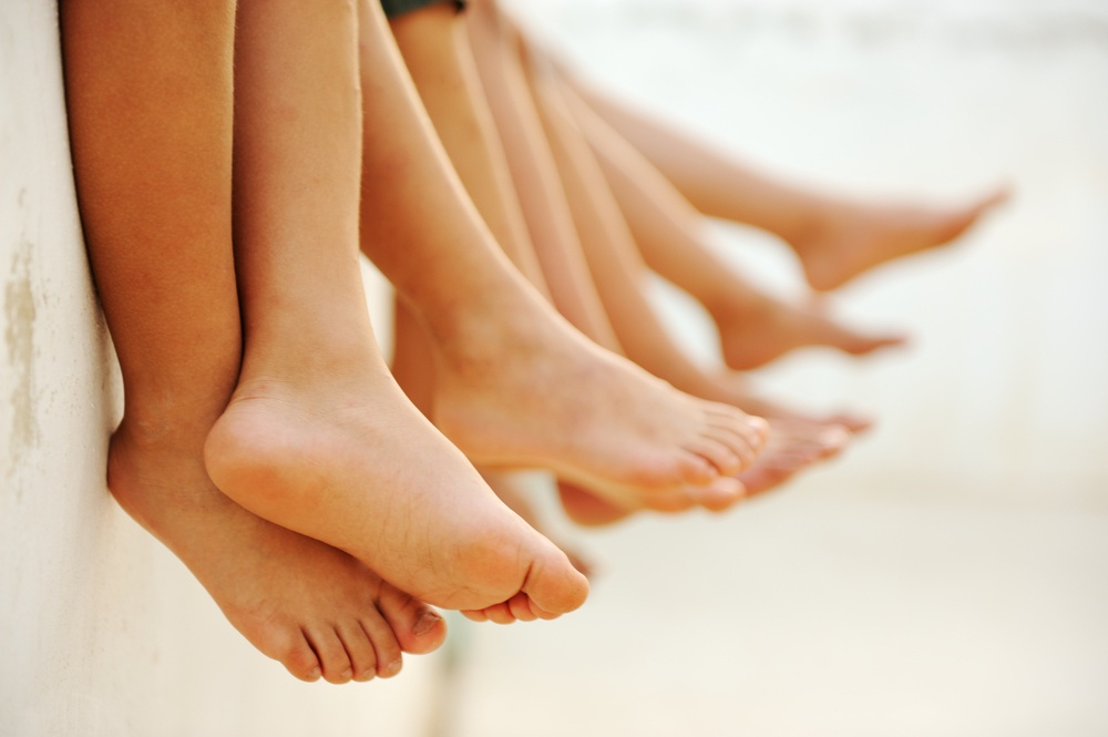Friends without shoes together, summer, group of children.jpeg